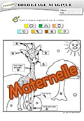 Coloriage magique maternelle girafe